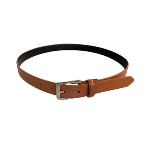 BRIDGET - Women Tan Genuine Leather Belt with Silver Pin Buckle  - Belt N Bags