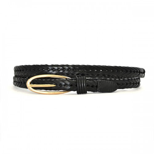 INGRID - Skinny Womens Black Plaited Genuine Leather Belt with Gold Buckle  - Belt N Bags