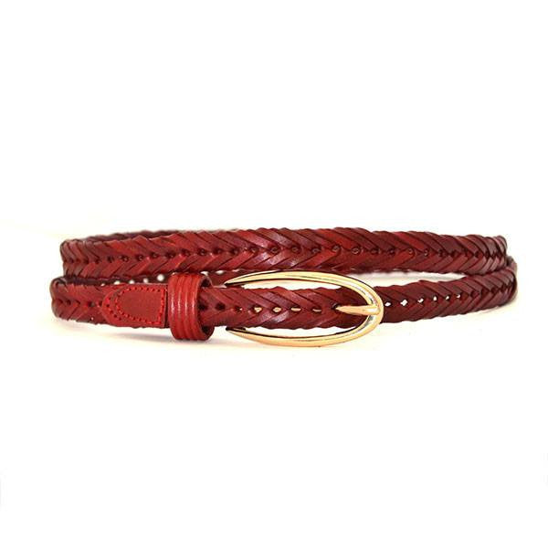 INGRID - Womens Deep Red Plaited Skinny Leather Belt with Oval Gold Buckle - Belt N Bags
