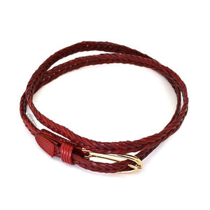 INGRID - Womens Red Plaited Skinny Leather Belt with Oval Gold Buckle  - Belt N Bags