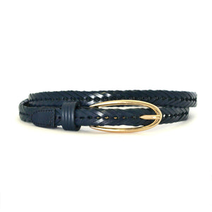 INGRID - Womens Navy Genuine Leather Belt-Womens Belt-BeltNBags-BeltNBags