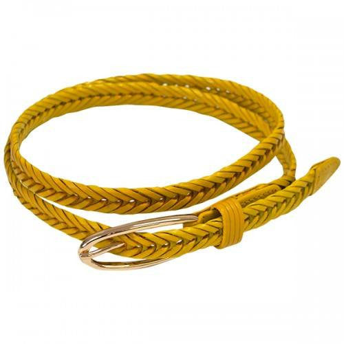 INGRID - Womens Skinny Yellow Plaited Leather Belt with Oval Buckle  - Belt N Bags