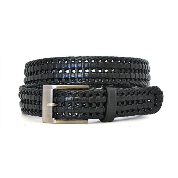 JAX - Mens Black Genuine Leather Plaited Belt  - Belt N Bags