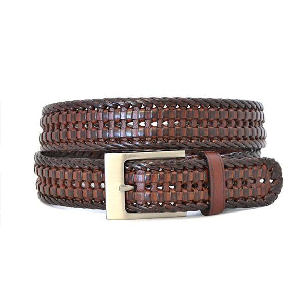JAX - Mens Brown Genuine Leather Woven Belt - Belt N Bags