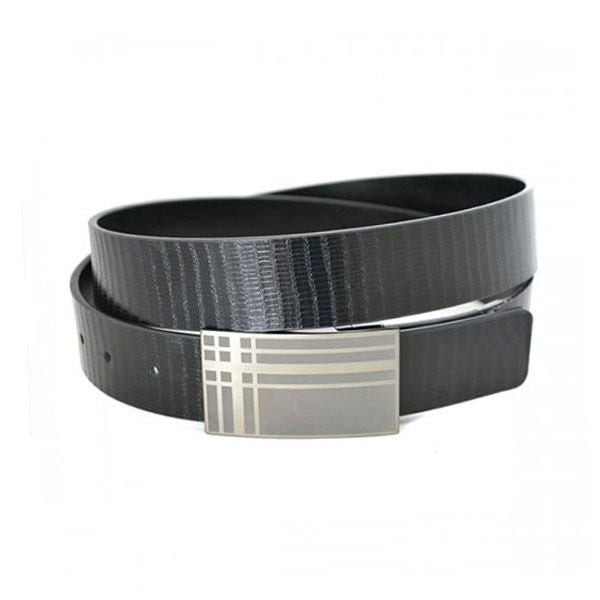 JACKSON - Mens Black Reversible Flat Edge Leather Belt  - Belt N Bags