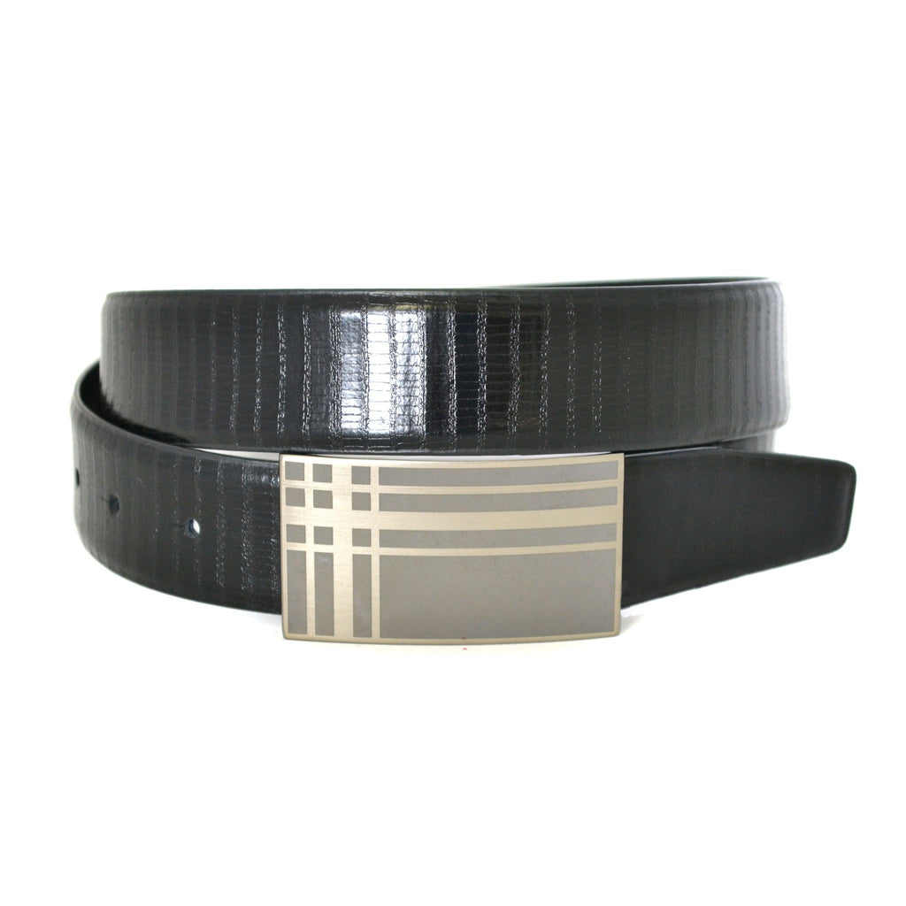 JACKSON - Mens Tapered Edge Black Leather Belt - Belt N Bags