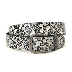 JADE - Unisex Black and Cream Leather Belt - CLEARANCE