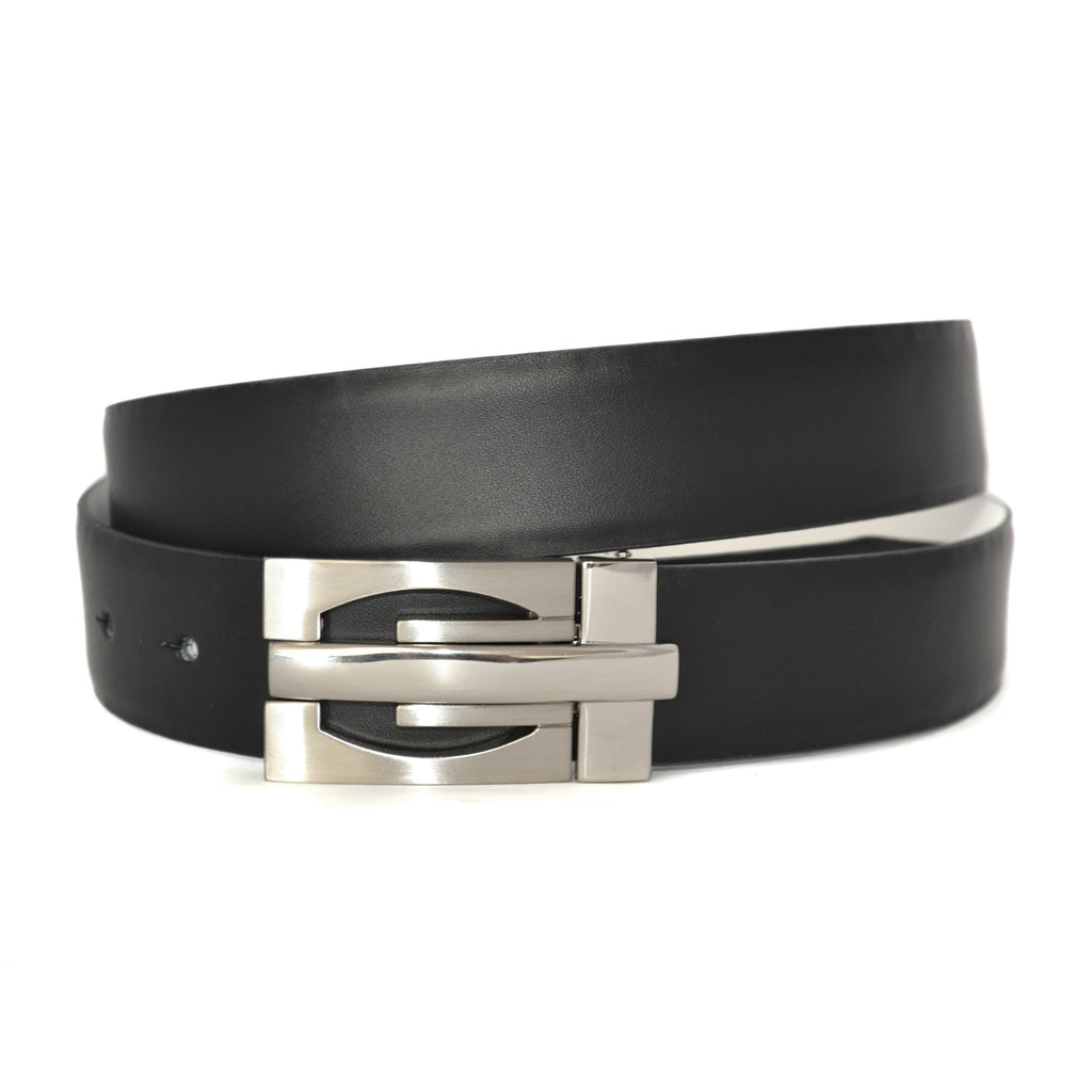 JAMES - Mens Black and White Leather Belt