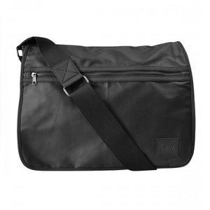 JAMIESON - Mens Black Faux Leather Messenger Bag  - Belt N Bags