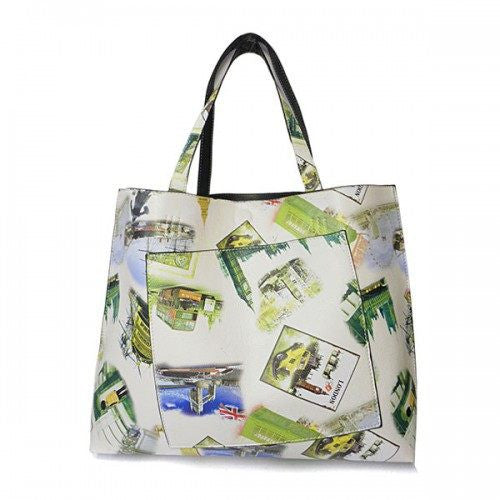 JASMINE - Womens Cream London Print Tote Bag - CLEARANCE - Belt N Bags