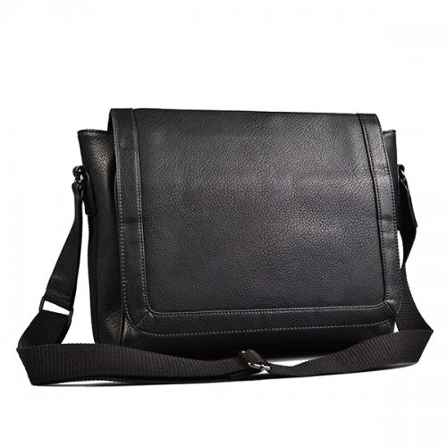 JAX - Mens Black Faux Leather Leather Messenger Satchel Bag