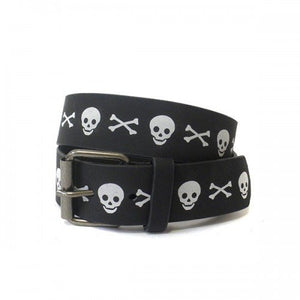 Boys Jolly Roger Black and White PU Belt Twin Pack  - Belt N Bags