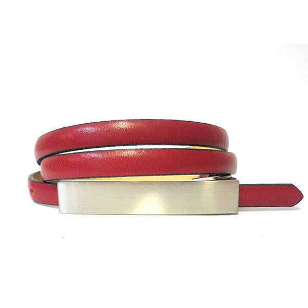 JUSTINE - Womens Burgundy Leather Belt - Belt N Bags