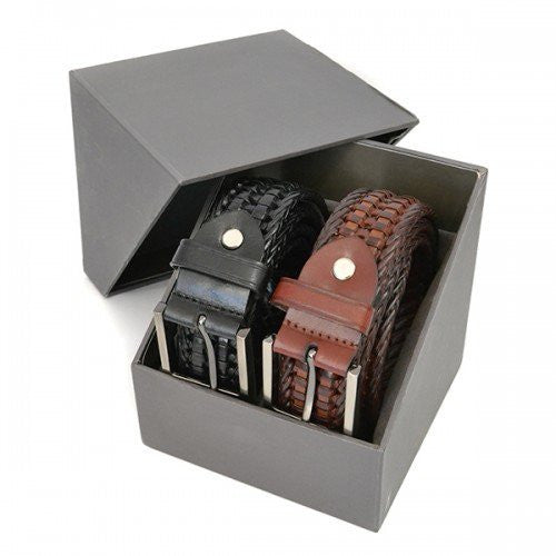 JAX- Mens Twin Leather Woven Belt Gift Pack - Belt N Bags