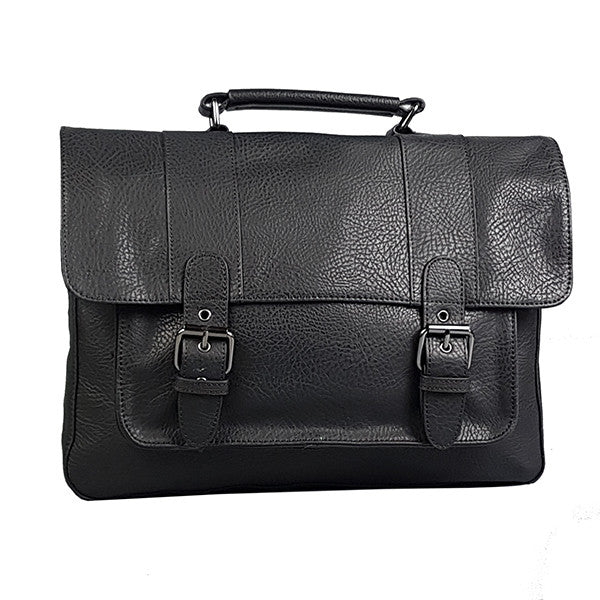 JUSTIN - Mens Mr Selby Genuine Leather Satchel Laptop Bag - Belt N Bags