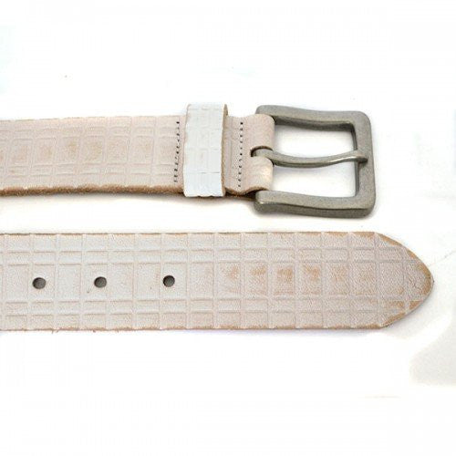KHALID - Mens Off-White Leather Belt - BeltNBags