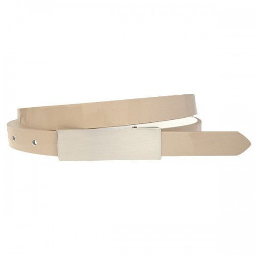 KIMBERLY - Womens Nude Genuine Leather Skinny Belt  - Belt N Bags