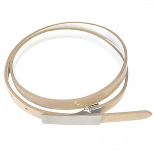 KIMBERLY - Womens Nude Genuine Leather Skinny Belt - BeltNBags