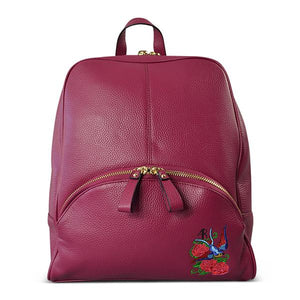 KINGSCLIFF - Addison Road - Magenta Pebbled Leather Backpack