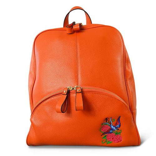 KINGSCLIFF- Addison Road  - Orange Pebbled Leather Backpack