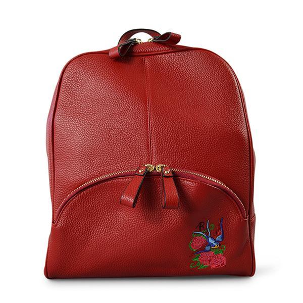 Kingscliff - Red Embroidered Leather Backpack Convertible Handbag  - Belt N Bags
