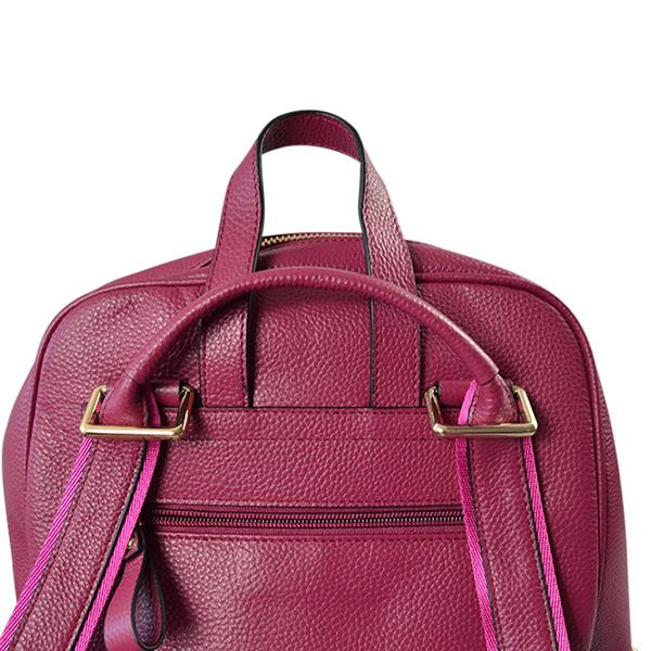 KINGSCLIFF - Addison Road - Magenta Pebbled Leather Backpack - BeltNBags