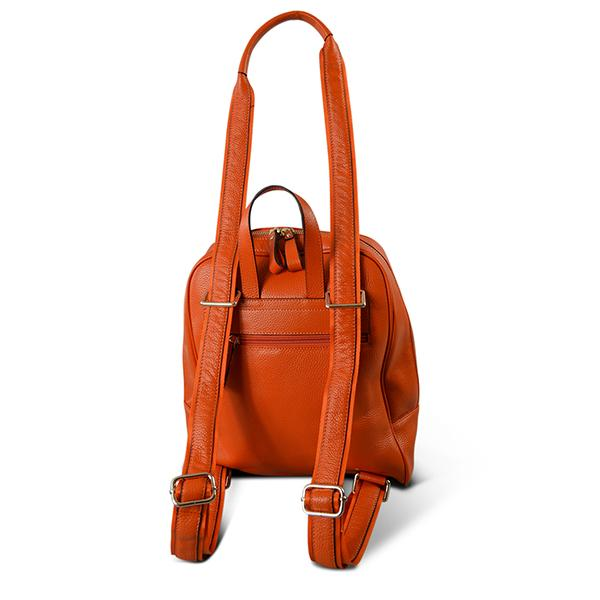 KINGSCLIFF- Addison Road  - Orange Pebbled Leather Backpack - BeltNBags