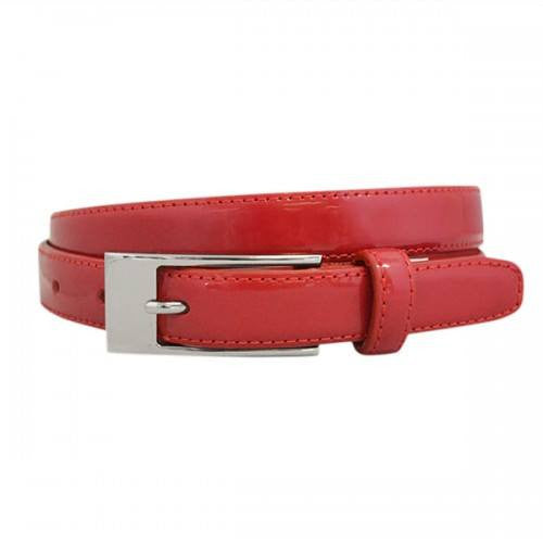 LACEY - Womens Red Skinny Genuine Leather Patent Belt with Silver Buckle  - Belt N Bags