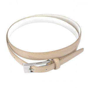 LACEY - Womens Nude Genuine Leather Skinny Belt - BeltNBags