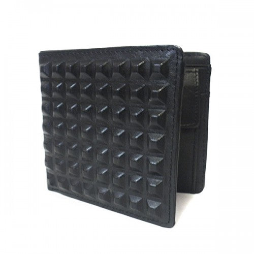 LACHLAN - Men's Black Genuine Leather Spike Wallet in Gift Box  - Belt N Bags
