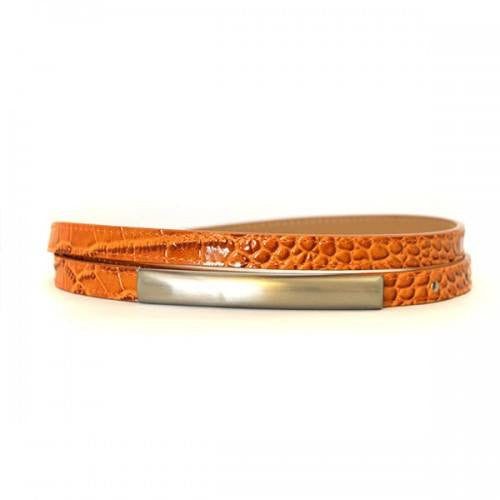 LAURA - Womens Orange Leather Belt  - Belt N Bags