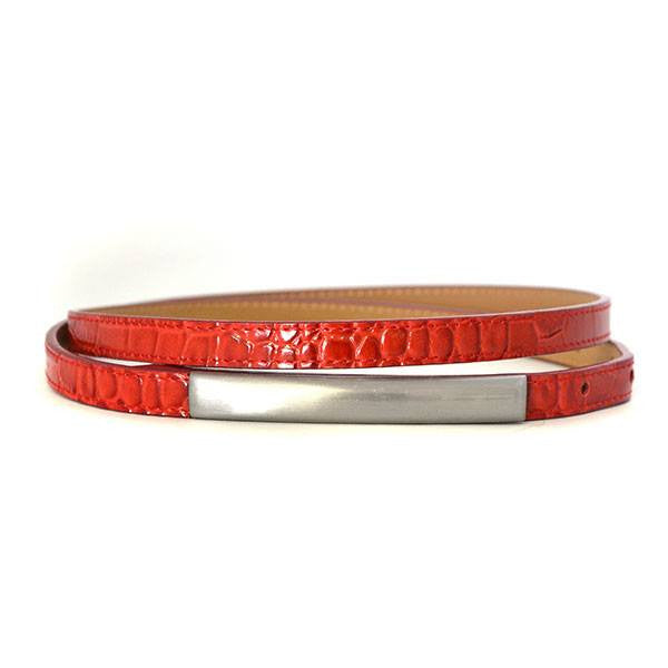 LAURA - Womens Red Leather Belt