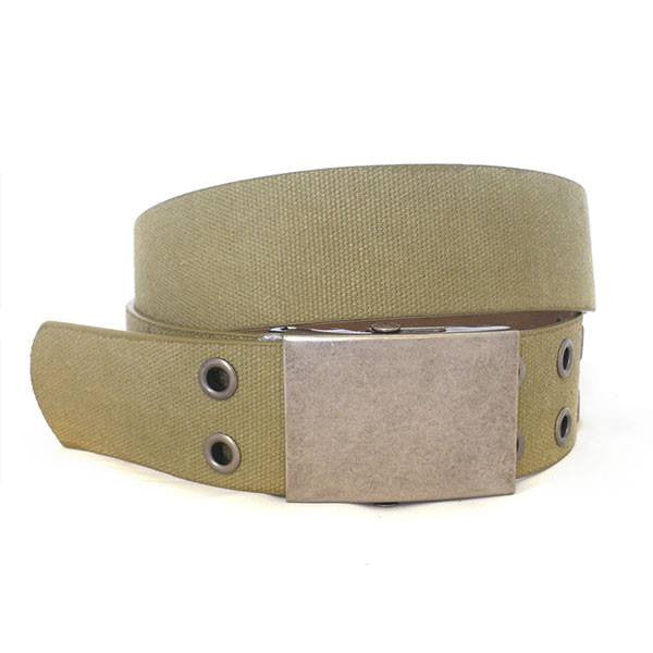 LEWIS - Mens Khaki Canvas & Leather Belt-Mens Belt-BeltNBags-BeltNBags