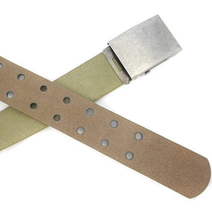 LEWIS - Mens Khaki Canvas & Leather Webbing Belt - BeltNBags