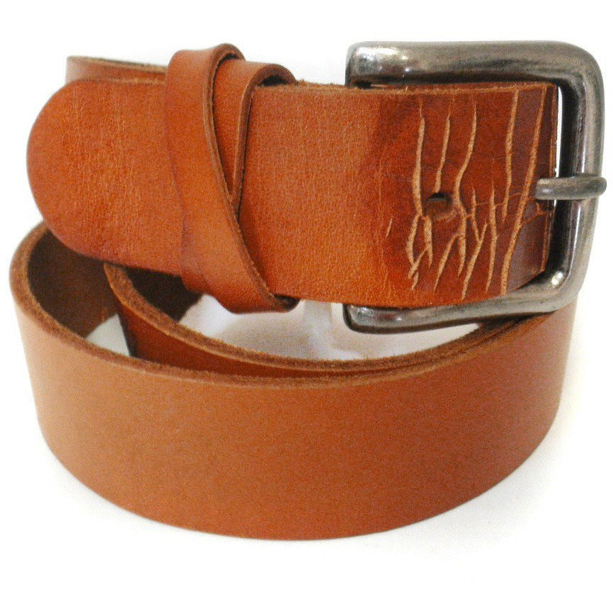 LLOYD - Mens Light Brown Leather Crackle Detail Belt with Silver Buckle - BeltNBags