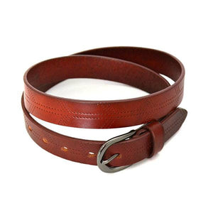 LOLA - Womens Burgundy Leather Belt  - Belt N Bags
