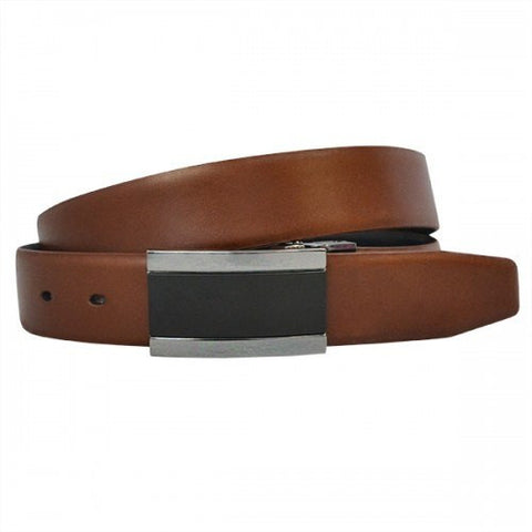 LYNDON - Mens Tan Genuine Leather Reversible Belt