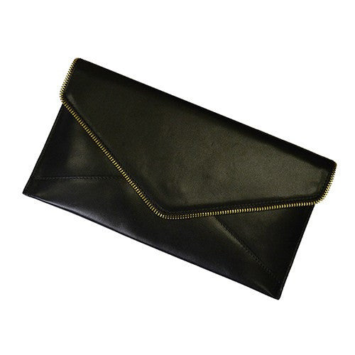 LARISSA - Womens Black Genuine Leather Clutch - BeltNBags