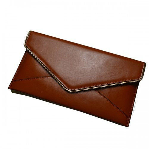 LARISSA - Womens Tan Genuine Leather Clutch - BeltNBags