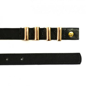 LAYLA - Black Womens Skinny Genuine Leather Belt with Gold Detailing  - Belt N Bags