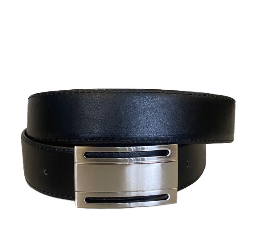 LEVI - Men's Black Vegan Leather Belt  - Belt N Bags