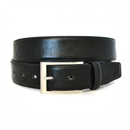 LINCOIN - Mens Black Premium Leather Checkerboard Woven Design Belt - BeltNBags