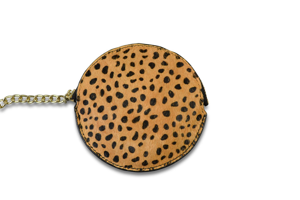 LORN- Ladies Leopard Calf Hair Key Ring Coin Purse in Gift Box - BeltNBags