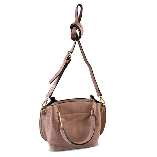 Lucy Blush Vegan Pebbled Leather Soft Handle Bag - BeltNBags
