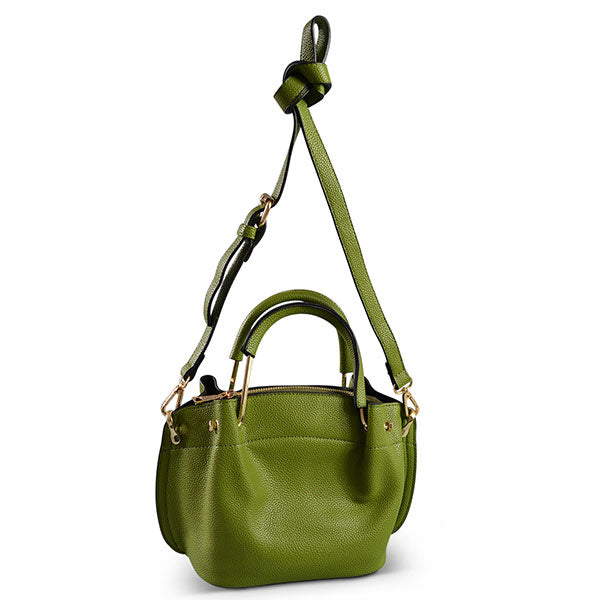 Lucy Green Vegan Pebbled Leather Soft Handle Bag-Womens Bag-Mink & Satchel-BeltNBags