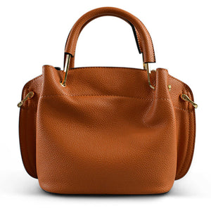 Lucy Tan Vegan Pebbled Leather Soft Handle Slouch Bag - BeltNBags