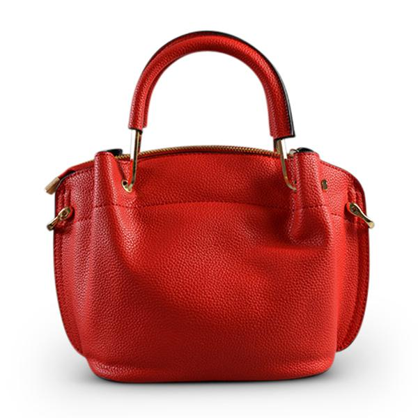 Lucy Red Vegan Pebbled Leather Soft Handle Bag - BeltNBags