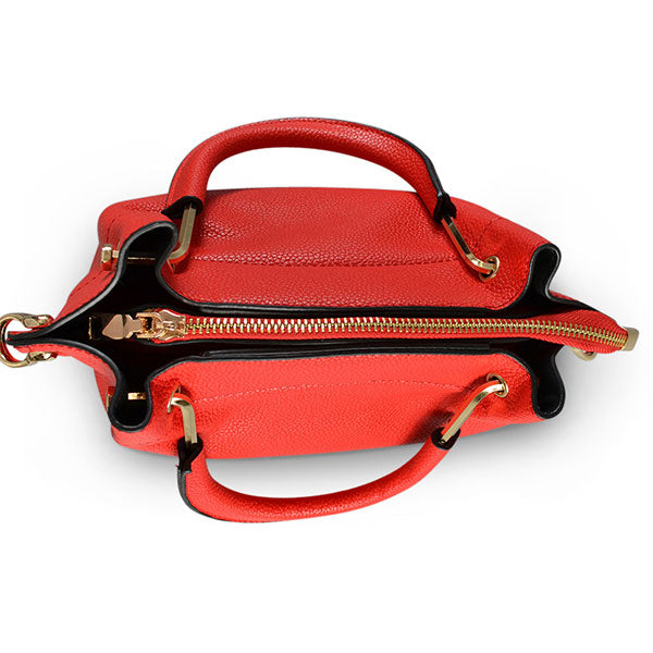 Lucy Red Vegan Pebbled Leather Soft Handle Bag  - Belt N Bags