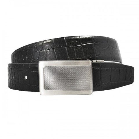 MAXWELL - Mens Black Genuine Leather Reversible Belt