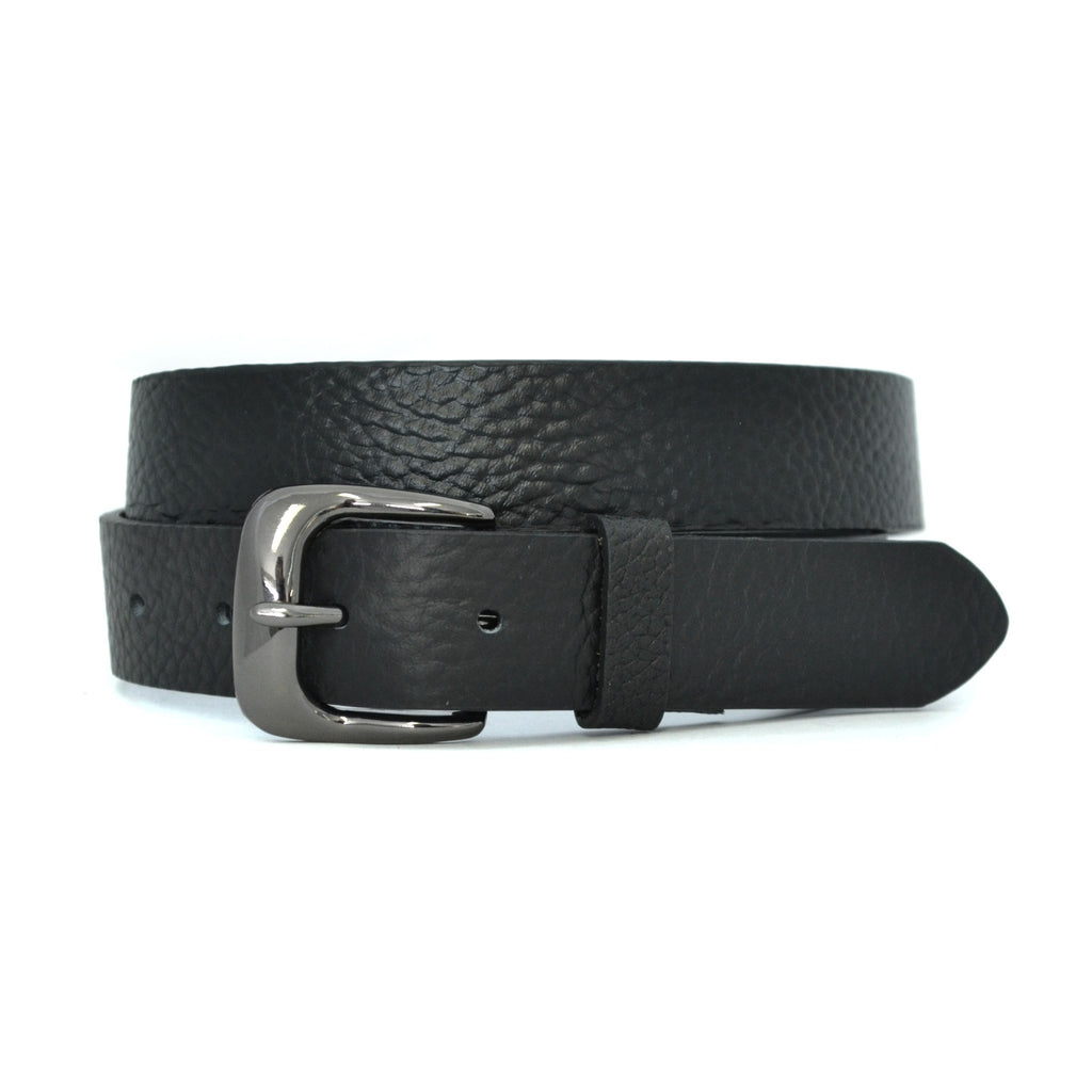 MYLES - Mens Black Leather Dress Belt  - Belt N Bags